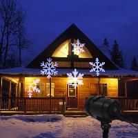 Projecteur Laser Exterieur Noel - Projecteur Laser Exterieur Halloween - Projecteur Laser Exterieur Fete Projecteur avec flocon de neige LV LED 4LT - Blanc froid - Fil noir