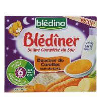 Purees De Legumes BLEDINA Blediner Soupe complete du soir Douceur de carottes semoule de riz - 2x250 ml - Des 6 mois