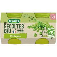 Purees De Legumes BLEDINA Petits pots petits pois Les recoltes Bio - Des 4 mois - 2 x 130 g