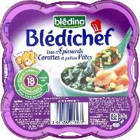 Purees De Legumes Bledina Bledichef assiette duo epinards carottes et pates 260g