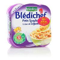Purees De Legumes Lot de 2 plats cuisines - Petits spaghetti et creme de legumes Bledichef - Des 12 mois - 2 x 130 g