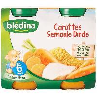 Purees De Legumes Petits pots Carottes semoule dinde - 2x200 g - Des 6 mois