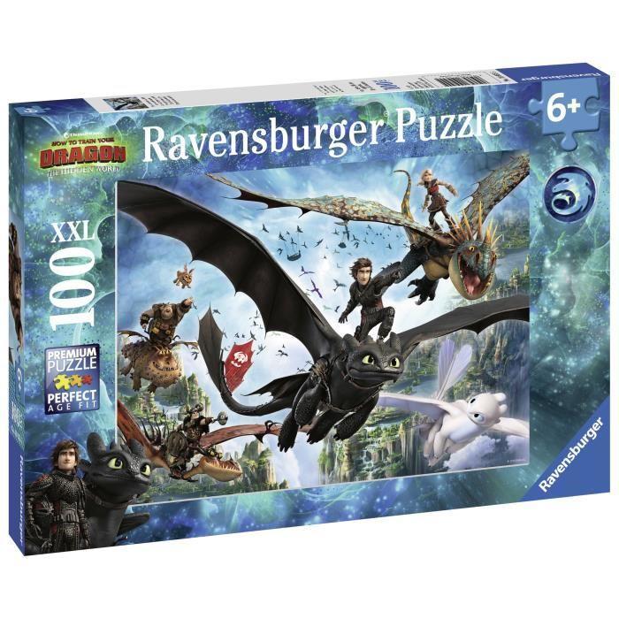 RAVENSBURGER-Puzzle-100-p-XXL-Le-monde-cache-Dragons-3 miniature 2