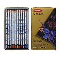 Rangement - Transport Boite de 12 Crayons Metalliques Derwent - Solubles a l'eau - A utiliser secs ou humides