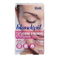 Rasage - Epilation BLONDEPIL 20 bandes de cire froide Haute Performance - Pour visage