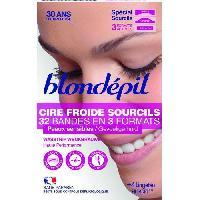 Rasage - Epilation BLONDEPIL 32 bandes de cire froide Haute Performance - Pour sourcils
