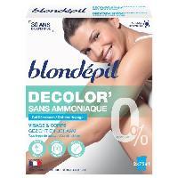 Rasage - Epilation BLONDEPIL Gel decolorant - Visage et corps - Sans ammoniaque - Tous types de peaux - 2x75 ml