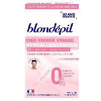 Rasage - Epilation Blondepil Cire Froide Hypoallergenique Visage -20 Bandes et 4 Lingettes-