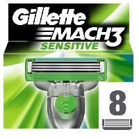 Rasoir Mecanique - Coupe-chou GILLETTE Lames MACH3 SENSITIVE -pack de 8-
