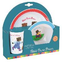 Repas Nomade Fun House Petit Ours Brun ensemble repas comprenant 1 assiette. 1 verre et 1 bol pour enfant