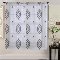 Rideau - Store - Accessoire Paire de vitrages - 2x60x120cm - Noir avec motifs
