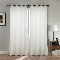 Rideau - Store - Accessoire Paire double rideaux - 2x140x260 cm - Effet lin - Blanc
