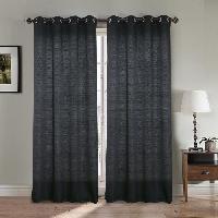 Rideau - Store - Accessoire Paire double rideaux - 2x140x260 cm - Effet lin - Noir