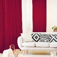 Rideau - Store - Accessoire Rideau 140x250 cm 100% Lin Rouge Aucune