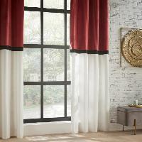 Rideau - Store - Accessoire Rideau Bicolore Polyester. coton et viscose - 140x260 cm - Terracotta