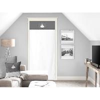 Rideau - Store - Accessoire SOLEIL D'OCRE Brise bise Anais 100 Coton 70x200 cm - Gris et Blanc - Soleil D Ocre