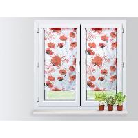 Rideau - Store - Accessoire SOLEIL D'OCRE Paire Brise bise Coquelicot 45x90 cm - 100 polyester -imprime