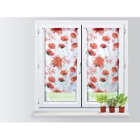 Rideau - Store - Accessoire SOLEIL D'OCRE Paire Brise bise Coquelicot 60x90 cm - 100 polyester -imprime