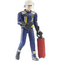 Robot- Personnage - Animal Anime Miniature BRUDER - Figurine pompier avec casque. gants et accessoires