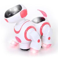 Robot- Personnage - Animal Anime Miniature MGM Chien robot - Musical et lumineux - 20 cm - Rose