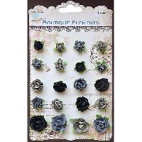 Ruban De Masquage - Masking Tape Assortiment de 20 petites roses en papier noir et gris