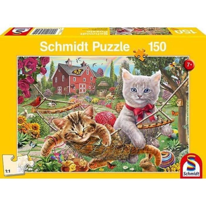 SCHMIDT-SPIELE-Puzzle-Chaton-dans-le-jardin-150-pieces miniature 2