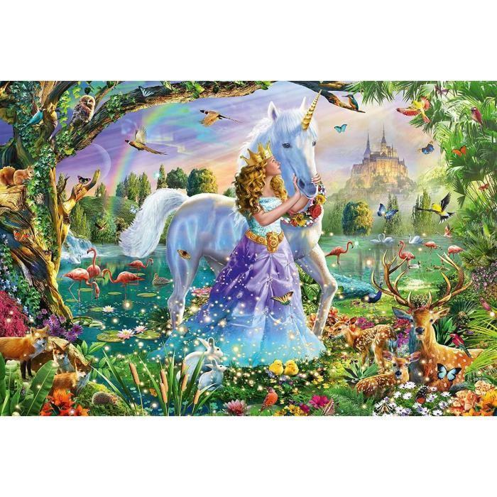 SCHMIDT-SPIELE-Puzzle-Princesse-avec-licorne-et-chateau-150-pieces