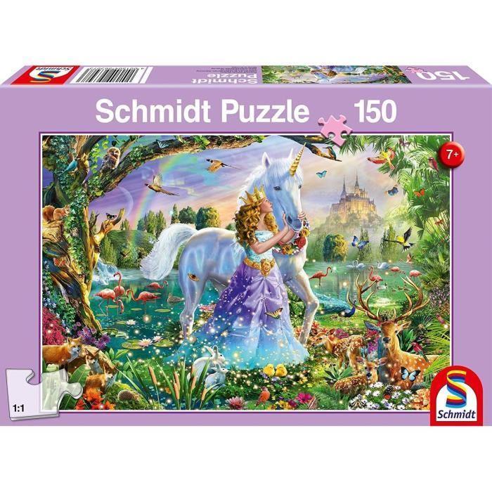 SCHMIDT-SPIELE-Puzzle-Princesse-avec-licorne-et-chateau-150-pieces miniature 2
