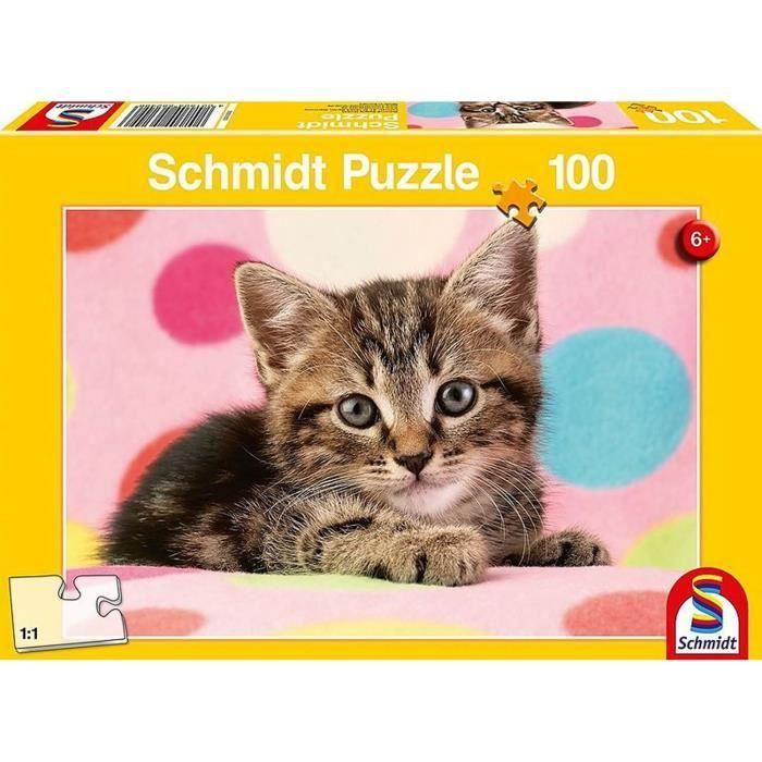 SCHMIDT-SPIELE-Puzzle-Un-adorable-chaton-100-pieces miniature 2