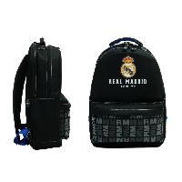 Sac A Dos REAL MADRID Sac a Dos - 2 Compartiments - Primaire - College - 43 cm - Bleu et noir - Enfant Garcon