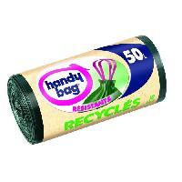 Sac Poubelle - Sac Plastique HANDY BAG Rouleau de 10 sacs a poignees coulissantes - 50 L - 68 x 73 cm