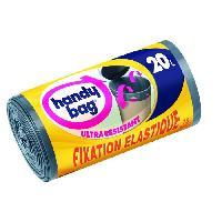 Sac Poubelle - Sac Plastique Rouleau de 15 sacs a poignees coulissantes - 20 L - 45 x 50 cm - Ultra resistants et fixation elastique