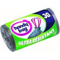 Sac Poubelle - Sac Plastique Rouleau de 15 sacs a poignees coulissantes - 30 L - 53 x 63 cm - Ultra resistants