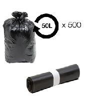 Sac Poubelle - Sac Plastique Sacs poubelle noir 50L - 14 microns HD -carton de 500-