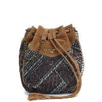 Sac Shopping LPB WOMAN - Sac Bourse en Cuir et Toile Imprime Daman Inspiration Ethnique - Femme