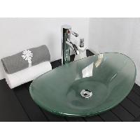 Sanitaire - Plomberie ONDEE - Vasque ovale a poser PIROGUE - Transparent - 56x36.5cm - Verre - Sans trop plein