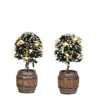 Sapin De Noel - Arbre De Noel Decor de Noel 2 Buxus en tonneau a piles - 8.5xD4 cm - Vert - 2 piles AA non fournies