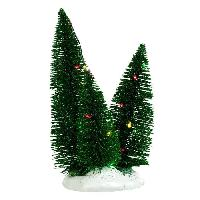Sapin De Noel - Arbre De Noel Decor de Noel 3 Sapins eclairage clignotant multicolore a piles - 12x10x19 cm - Vert - 2 piles AA non fournies