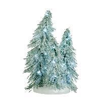 Sapin De Noel - Arbre De Noel Decor de Noel 3 Sapins enneiges eclaires a piles - 12x10x19 cm - Blanc - 2 piles AA non fournies