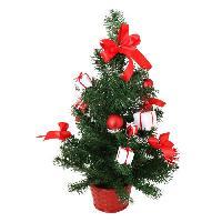 Sapin De Noel - Arbre De Noel Sapin de Noel artificiel avec Boites-cadeaux et Pommes de pin - 50 cm - Rouges et blanc