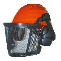Securite - Protection Chantier JARDIN PRATIQUE Casque de protection forestier avec grille metallique + Proteges oreilles