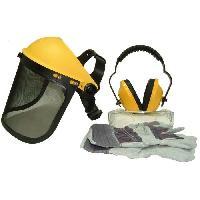 Securite - Protection Chantier JARDIN PRATIQUE Kit de protection OZAKI - Ecran grillagé relevable + lunettes de sécurité + casque anti-bruit ajustable et gants Generique
