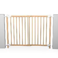 Securite Bebe AT4 Barriere de securite enfant amovible et portillon - 73-110 cm - Bois naturel vernis