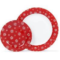 Service De Table ABS T1904307-12X service de table 12pcs en porcelaine forme aile - Rouge laponie