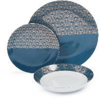 Service De Table ABS T1904310-18X service de table en porcelaine 18 pcs forme coupe - Bleu artdeco