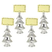 Service De Table Décoration de Noël : Set de 4 porte-noms sapin - H 15 cm - Argent