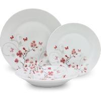 Service De Table Service de Table 18 pieces en porcelaine Papillons rouge