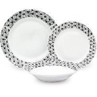 Service De Table Service de Table 18 pieces en porcelaine formes géométriques noir et blanc