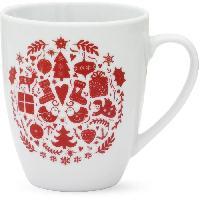 Service Petit Dejeuner ABS T1904308-2X set de 2 mug avec decal 32cl forme boule - Theme noël scandinave