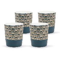 Service Petit Dejeuner ABS T1904311-GX set de 4 tasses tisane en porcelaine forme V sans anse avec decal en or 26cl - Theme bleu artdeco
